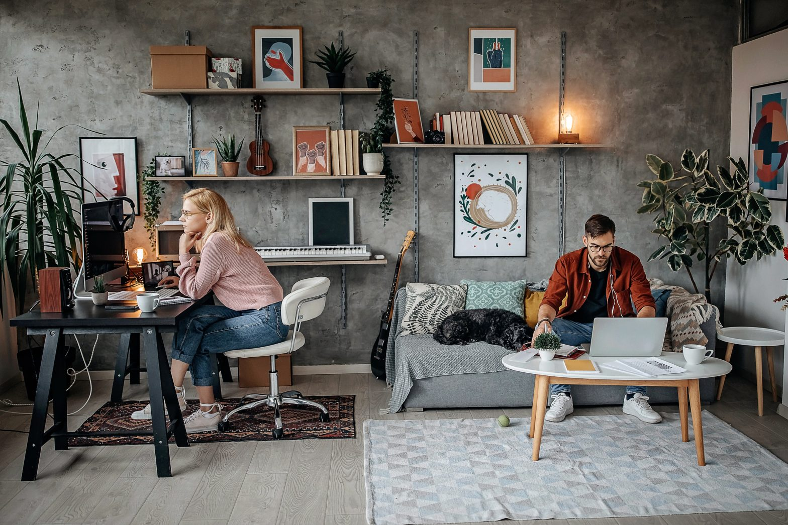 A couple working from home