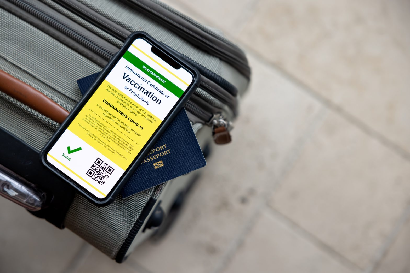 Digital vaccine passport app in mobile phone for travel during Covid-19 pandemic