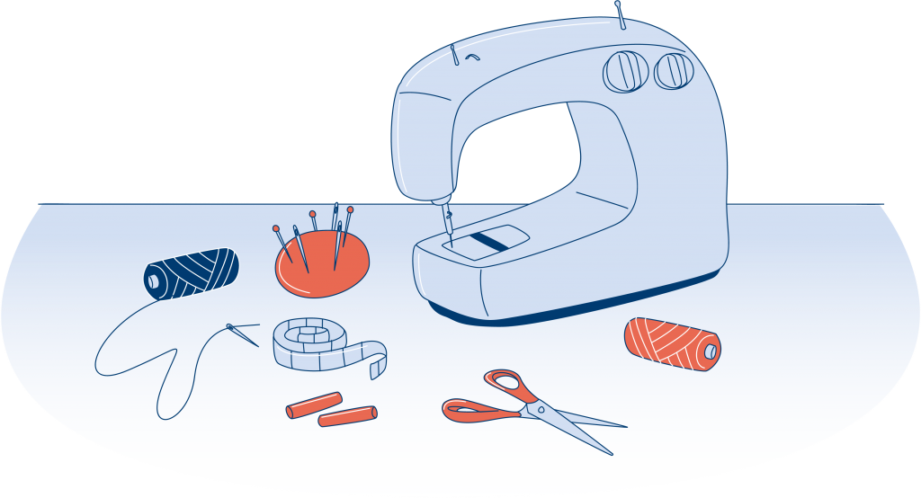 Sewing machine on a table with scissors, thread, needles and measuring tape.